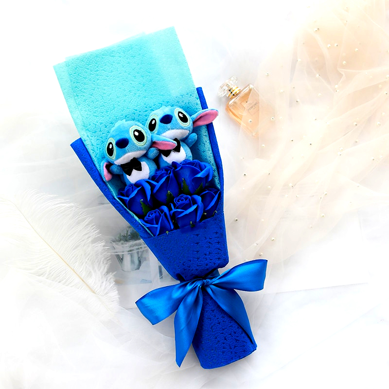 Small Plush Lilo Stitch Bouquet with Artificial Roses